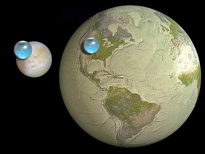 पृथ्वी और युरोपा के जल की तुलना (Image credit - NASA)