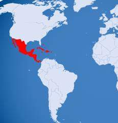 mexico amercian continents ke map me