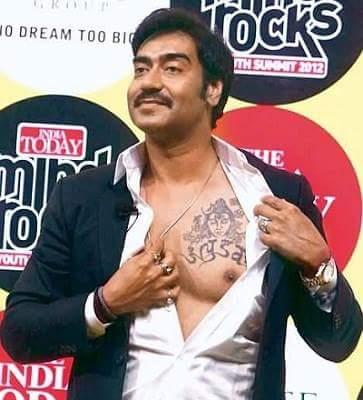 ajay devgan shivay tatoo on chest