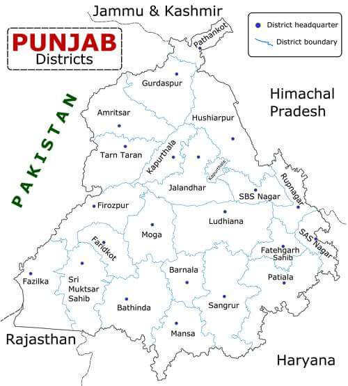 punjab districtis in hindi