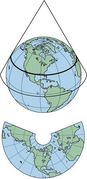 Conical Map Projection in Hindi