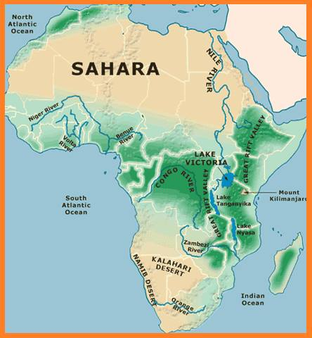 Natural Geography of Africa in Hindi